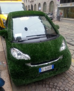 The happy green car